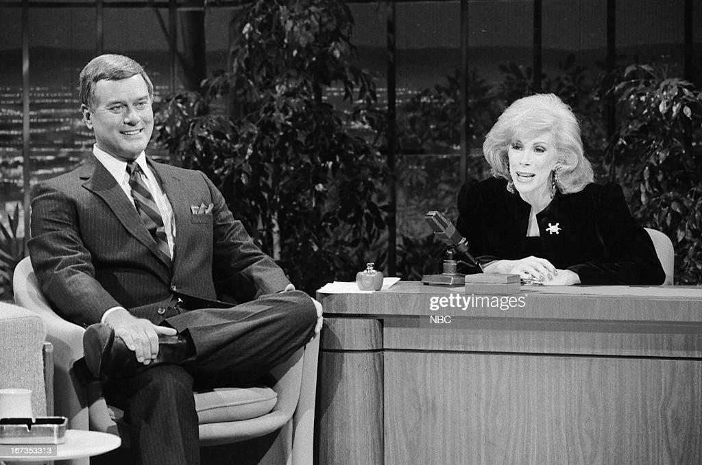 Actor Larry Hagman, guest host Joan Rivers on September 28, 1983 --