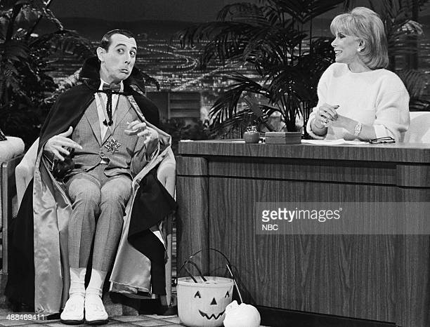 Actor Paul Reubens during an interview with guest host Joan Rivers on October 31 1985