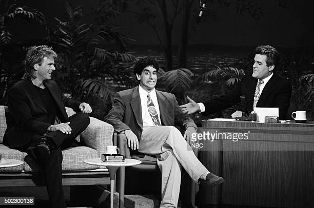 Actor Richard Dean Anderson and comedian Jeff Cesario during an interview with guest host Jay Leno on April 19 1991