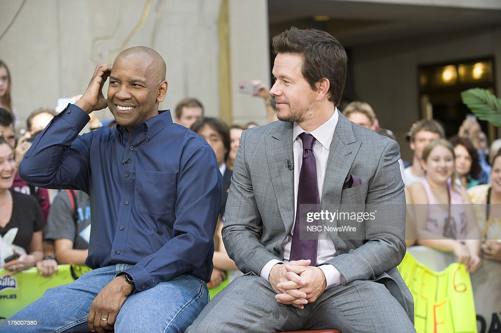 Actors Denzel Washington and Mark Wahlberg appear on NBC News' Today show on July 29, 2013 --