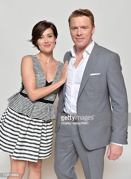Pictured Actors Megan Boone and Diego Klattenhoff pose for a portrait during NBC 2013 Summer Press Tour at The Beverly Hilton Hotel on July 27 2013...