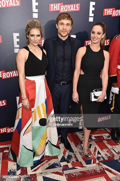 Actors Sophie Colquhoun William Moseley and Merritt Patterson at The Royals premier party at The Top of The Standard on March 9 2015