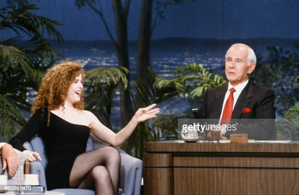 Actress Bernadette Peters during an interview with host Johnny Carson on July 17 1991