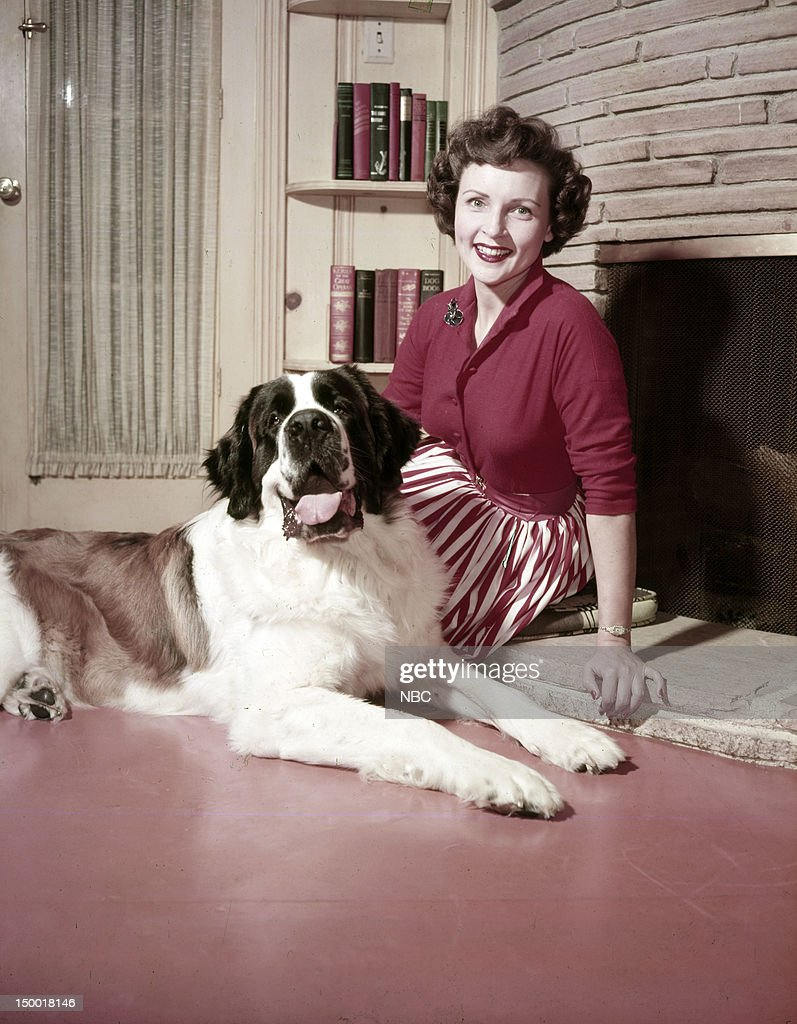 Actress <a gi-track='captionPersonalityLinkClicked' href=/galleries/search?phrase=Betty+White&family=editorial&specificpeople=213602 ng-click='$event.stopPropagation()'>Betty White</a>, dog Stormy at home c. 1954 --