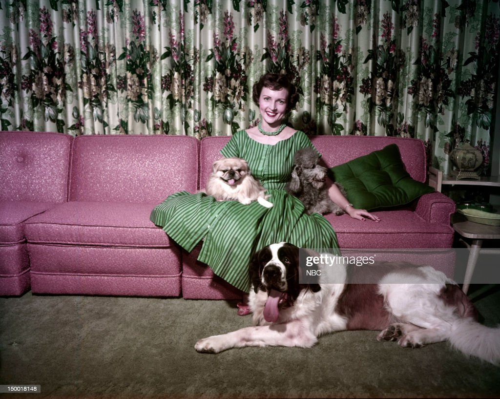 Actress <a gi-track='captionPersonalityLinkClicked' href=/galleries/search?phrase=Betty+White&family=editorial&specificpeople=213602 ng-click='$event.stopPropagation()'>Betty White</a> with dogs Bandy, Stormy, Danny at home c. 1954 --