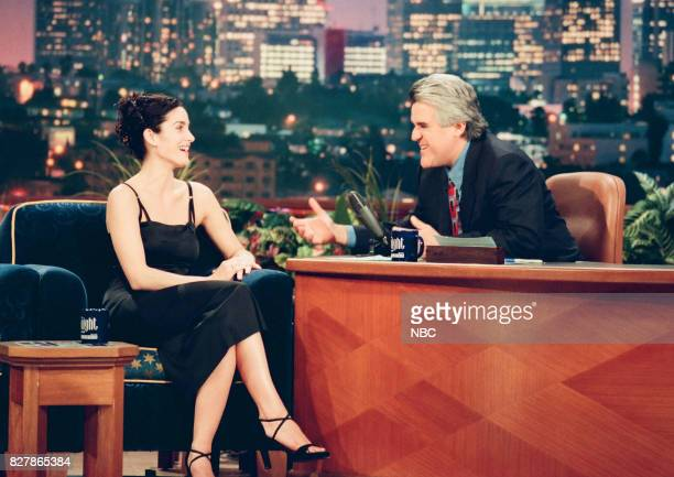 Actress CarrieAnne Moss during an interview with host Jay Leno on April 30 1999