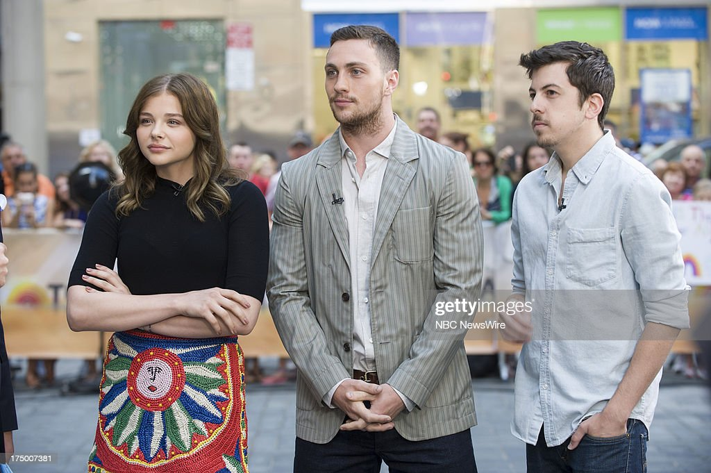 Actress Chloe Grace Moretz, actors Aaron Taylor-Johnson, and <a gi-track='captionPersonalityLinkClicked' href=/galleries/search?phrase=Christopher+Mintz-Plasse&family=editorial&specificpeople=4326251 ng-click='$event.stopPropagation()'>Christopher Mintz-Plasse</a> appear on NBC News' Today show on July 29, 2013 --