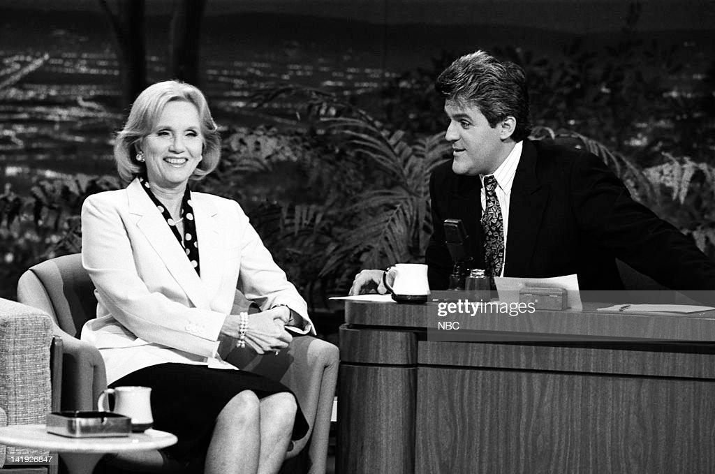 Actress Eva Marie Saint, guest host Jay Leno on May 8, 1990 --