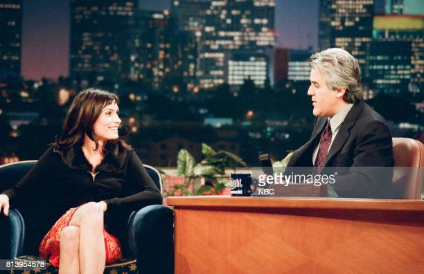 Actress Famke Janssen being interviewed by host Jay Leno on January 23 1998