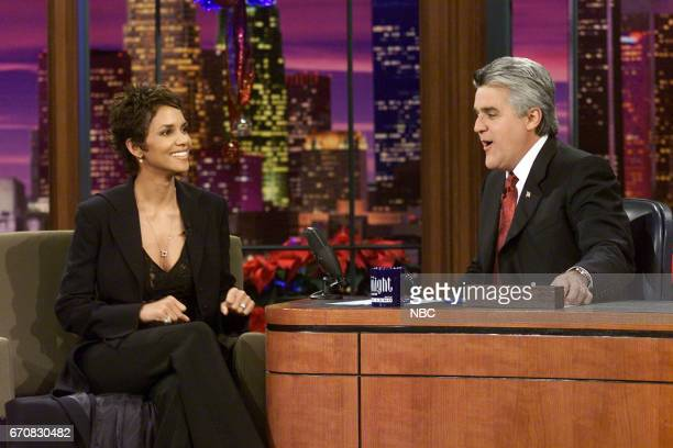 Actress Hallie Berry during an interview with Host Jay Leno on December 21st 2001