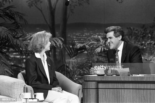 Actress Helen Slater during an interview with guest host Jay Leno on July 16 1991