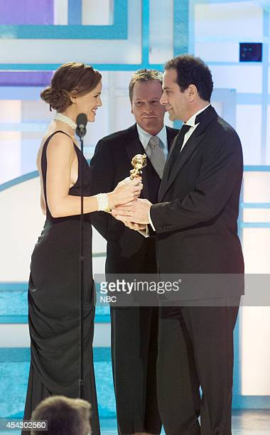 Actress Jennifer Garner and actor Kiefer Sutherland present Tony Shalhoub with the award for Best Actor in a Television Series Musical or Comedy...