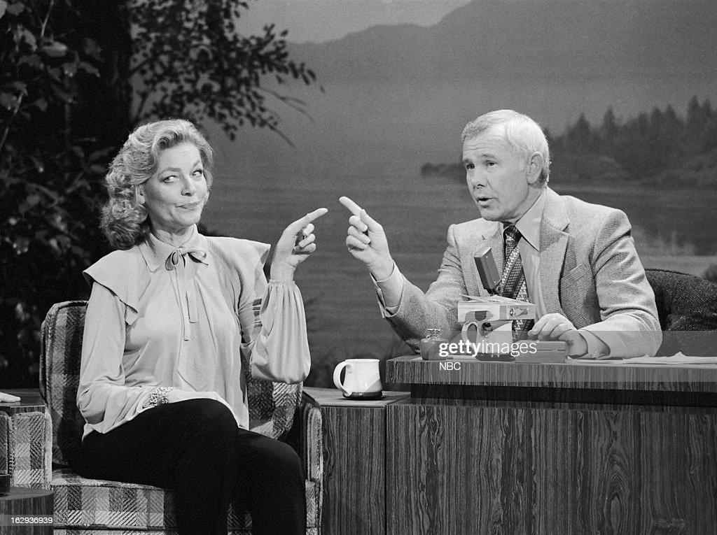 Actress Lauren Bacall host Johnny Carson on January 11 1980