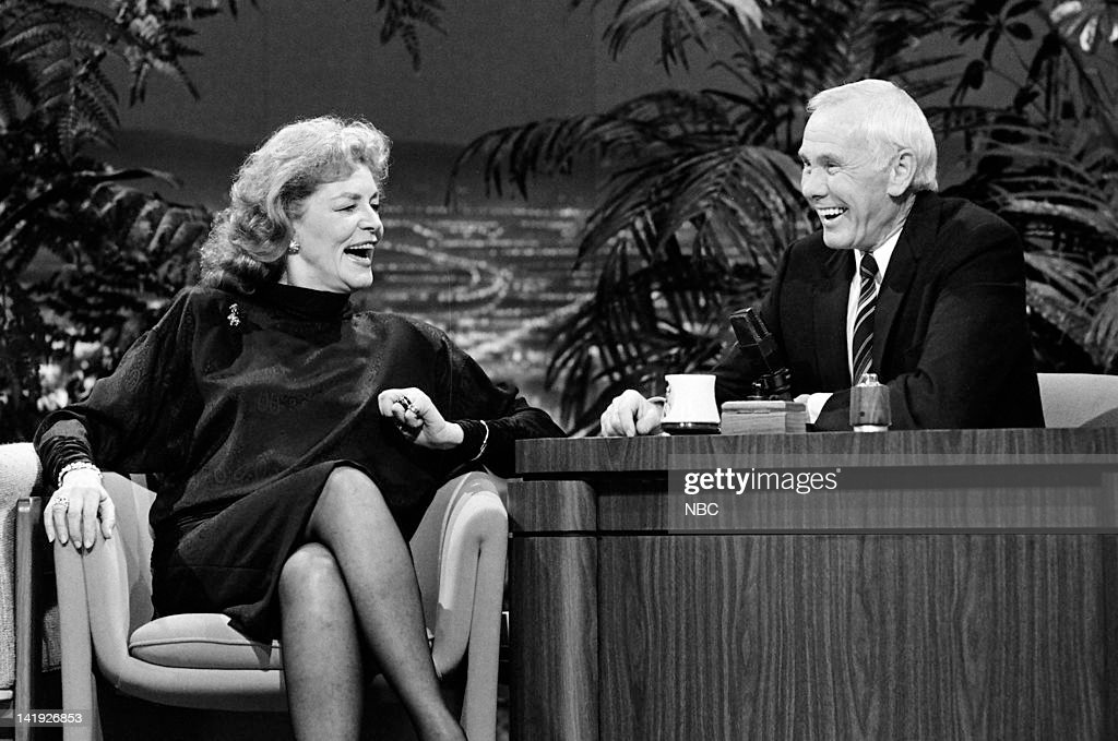 Actress Lauren Bacall, host Johnny Carson on January 23, 1987 --