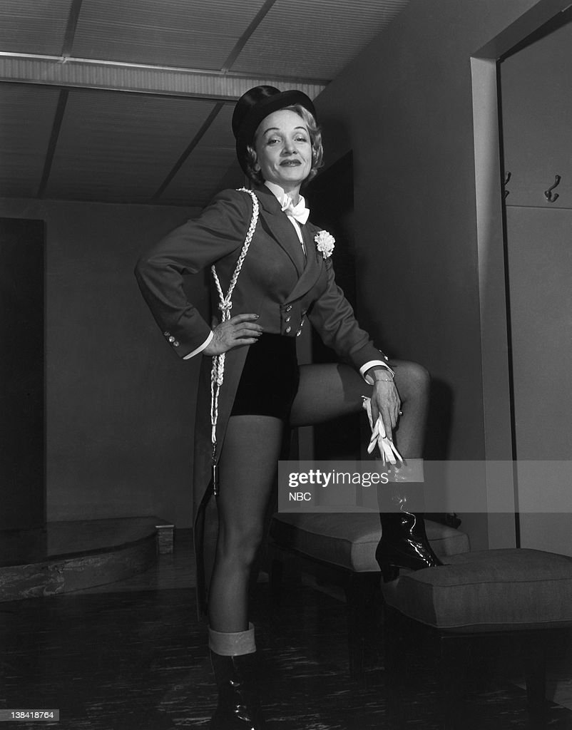 Actress Marlene Dietrich on opening night of the Ringling Brothers Circus, Madison Square Garden, New York City, NY on December 18, 1953