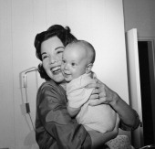 Actress Nanette Fabray with son Jamie MacDougal in 1959