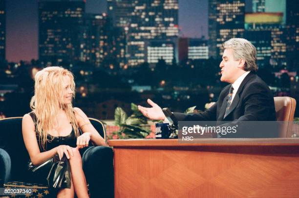 Actress Pamela Lee during an interview with host Jay Leno on February 23 1998