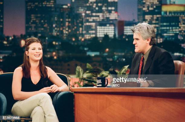 Actress Yasmine Bleeth during an interview with host Jay Leno on May 1 1998