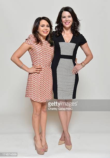 Pictured Actresses Mae Whitman and Lauren Graham pose for a portrait during NBC 2013 Summer Press Tour at The Beverly Hilton Hotel on July 27 2013 in...