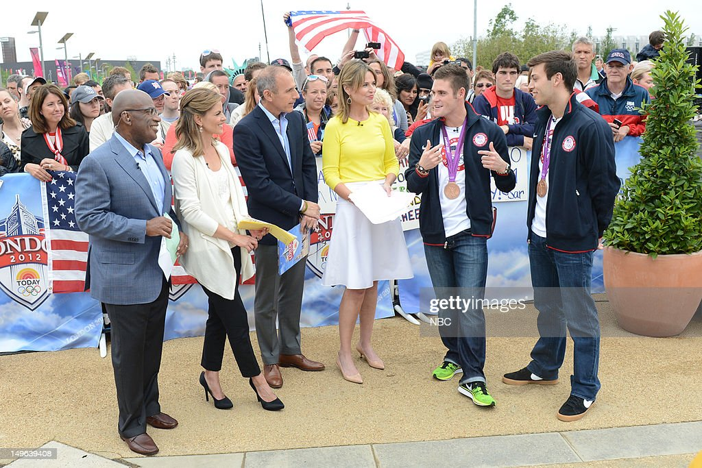 <a gi-track='captionPersonalityLinkClicked' href=/galleries/search?phrase=Al+Roker&family=editorial&specificpeople=206153 ng-click='$event.stopPropagation()'>Al Roker</a>, <a gi-track='captionPersonalityLinkClicked' href=/galleries/search?phrase=Natalie+Morales+-+News+Anchor&family=editorial&specificpeople=710956 ng-click='$event.stopPropagation()'>Natalie Morales</a>, <a gi-track='captionPersonalityLinkClicked' href=/galleries/search?phrase=Matt+Lauer&family=editorial&specificpeople=206146 ng-click='$event.stopPropagation()'>Matt Lauer</a>, <a gi-track='captionPersonalityLinkClicked' href=/galleries/search?phrase=Savannah+Guthrie&family=editorial&specificpeople=653313 ng-click='$event.stopPropagation()'>Savannah Guthrie</a>, David Boudia, <a gi-track='captionPersonalityLinkClicked' href=/galleries/search?phrase=Nick+McCrory&family=editorial&specificpeople=5405625 ng-click='$event.stopPropagation()'>Nick McCrory</a> during the 2012 Summer Olympic Games on July 31, 2012 in London, England --