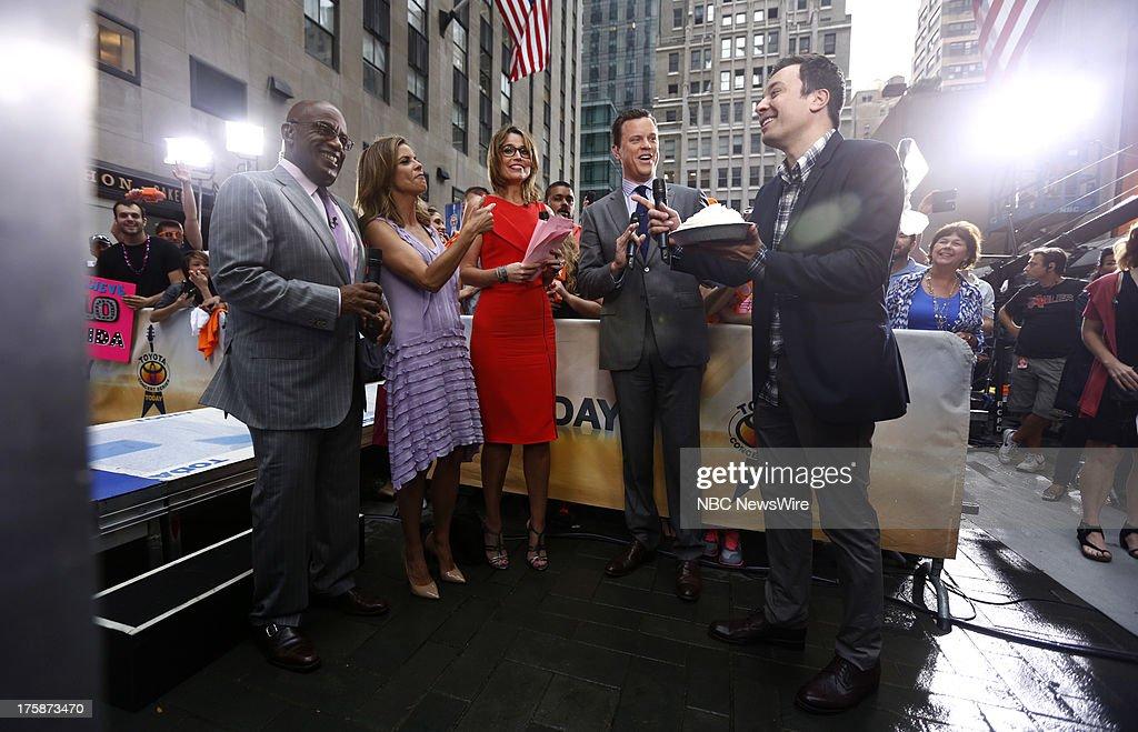 Al Roker, Natalie Morales, Savannah Guthrie, Willie Geist and Jimmy Fallon appear on NBC News' 'Today' show --