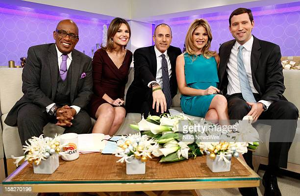 Al Roker Savannah Guthrie Matt Lauer Jenna Bush Hager and Henry Hager appear on NBC News' 'Today' show