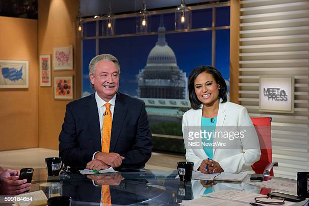 Alex Castellanos Republican Strategist left and Kristen Welker White House Correspondent for NBC News right appear on 'Meet the Press' in Washington...