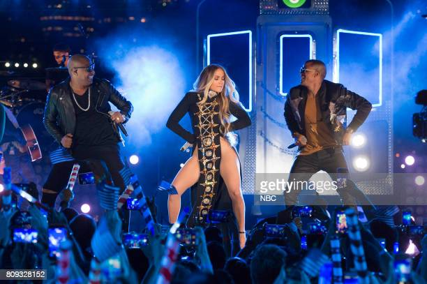 S FOURTH OF JULY FIREWORKS SPECTACULAR Pictured Alexander Delgado of Gente De Zona Jennifer Lopez and Randy Malcom of Gente De Zona rehearse NI TU NI...