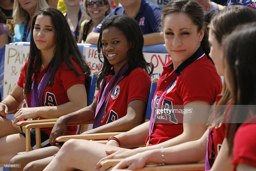 Aly Raisman, <a gi-track='captionPersonalityLinkClicked' href=/galleries/search?phrase=Gabby+Douglas&family=editorial&specificpeople=8465211 ng-click='$event.stopPropagation()'>Gabby Douglas</a>, <a gi-track='captionPersonalityLinkClicked' href=/galleries/search?phrase=Jordyn+Wieber&family=editorial&specificpeople=5720749 ng-click='$event.stopPropagation()'>Jordyn Wieber</a>, <a gi-track='captionPersonalityLinkClicked' href=/galleries/search?phrase=McKayla+Maroney&family=editorial&specificpeople=7138673 ng-click='$event.stopPropagation()'>McKayla Maroney</a> on August 9, 2012 --