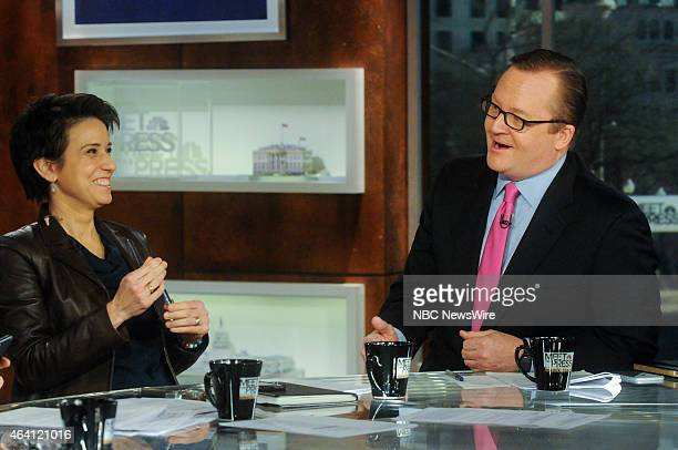 Amy Walter National Editor The Cook Political Report left and Robert Gibbs Fmr White House Press Secretary right appear on 'Meet the Press' in...