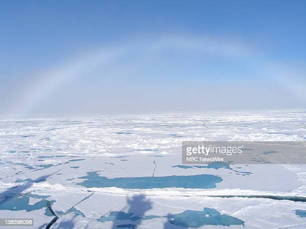An Arctic rainbow as seen from aboard the Russian nuclear powered icebreaker Yamal traveling through the Arctic Ocean on its way to the North Pole...