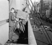 An NBC TV crew filming the 1945 Macy's Thanksgiving Day Parade Photo by NBCU Photo Bank