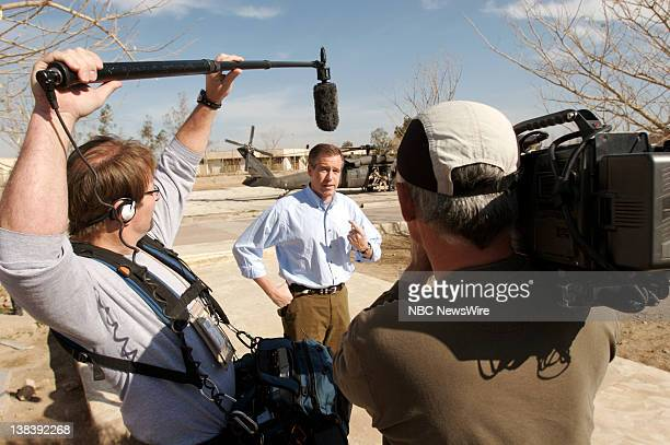 Anchor and Managing Editor Brian Williams of 'NBC Nightly News' reports from Camp Liberty in Baghdad Iraq on March 8 2007