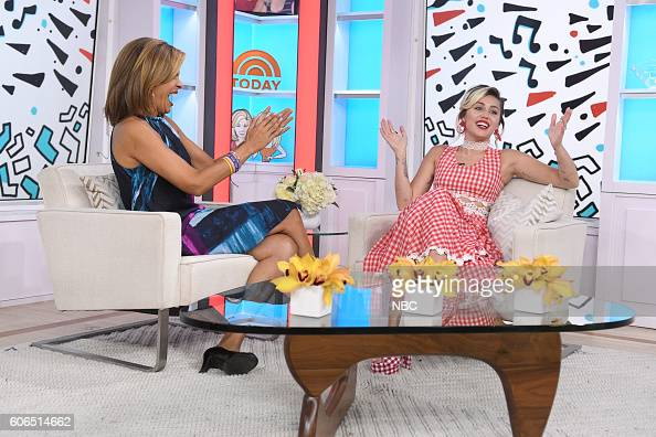 Anchor Hoda Kotb with Miley Cyrus on NBC's 'TODAY' show on Friday September 16 2016