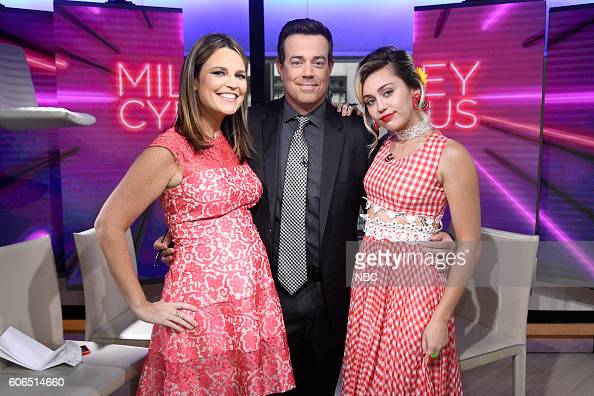 Anchors Savannah Guthrie and Carson Daly with Miley Cyrus on NBC's 'TODAY' show on Friday September 16 2016