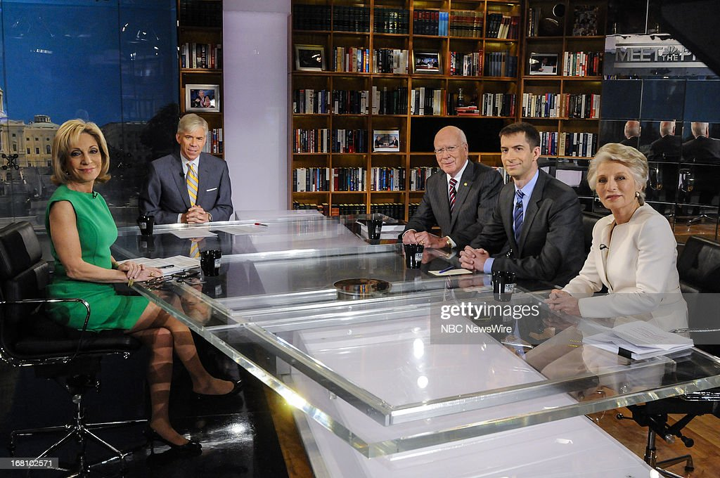 – Andrea Mitchell, NBC News Chief Foreign Affairs Correspondent, moderator David Gregory, Sen. Patrick Leahy (D-VT,) Rep. Tom Cotton (R-AR,) and Fmr. Rep. Jane Harman (D-CA) appear on 'Meet the Press' in Washington, D.C., Sunday, May 5, 2013.