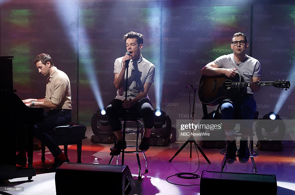 Andrew Dost Nate Ruess and Jack Antonoff of the music group 'Fun' perform on NBC News' 'Today' show