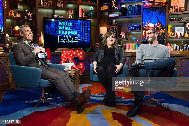 Andy Cohen Aidy Bryant and Zachary Quinto