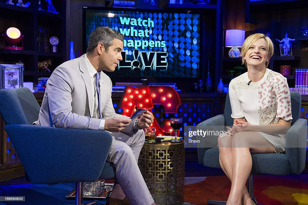 Andy Cohen and Elisabeth Moss -- Photo by: Charles Sykes/Bravo/NBCU Photo Bank via Getty Images