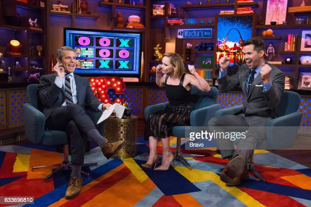 Andy Cohen Christina Ricci and Andrew Rannells
