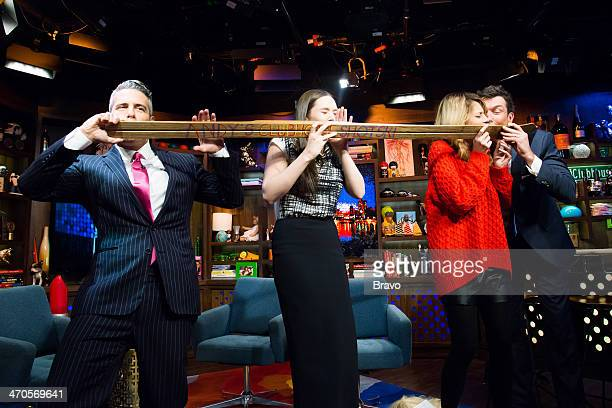 Andy Cohen Elizabeth Olsen Grace Helbig and Jerry O'Connell Photo by Charles Sykes/Bravo/NBCU Photo Bank via Getty Images