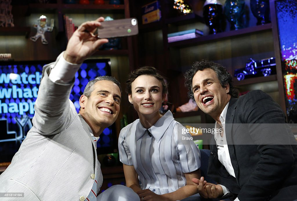 LIVE -- Pictured (l-r) Andy Cohen, Keira Knightley and Mark Ruffalo --