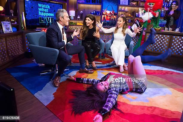 Andy Cohen Teresa Giudice Melissa Gorga and drag queen Shangela