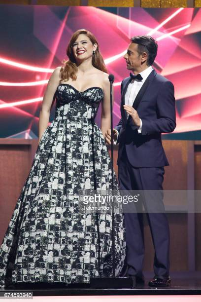 Angelica Celaya and Eugenio Derbez on stage at the Watsco Center in the University of Miami Coral Gables Florida on April 27 2017