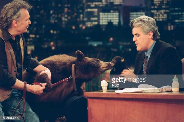 Animal specialist Bill Porter and Ruthie the bear during an interview with host Jay Leno on February 26 1999