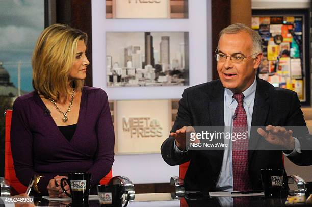 Anne Gearan Political Correspondent The Washington Post left and David Brooks Columnist The New York Times right appear on 'Meet the Press' in...