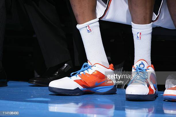 Pictured are the shoes of Kevin Durant of the Oklahoma City Thunder during a break in the action against the Memphis Grizzlies in Game Five of the...