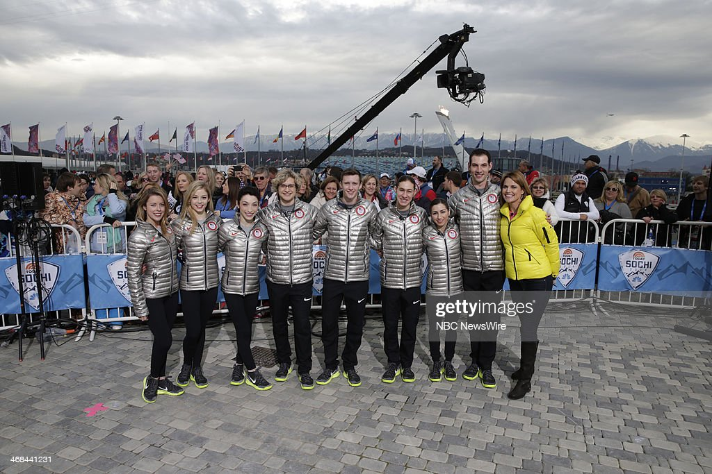 <a gi-track='captionPersonalityLinkClicked' href=/galleries/search?phrase=Ashley+Wagner&family=editorial&specificpeople=2564533 ng-click='$event.stopPropagation()'>Ashley Wagner</a>, <a gi-track='captionPersonalityLinkClicked' href=/galleries/search?phrase=Gracie+Gold&family=editorial&specificpeople=9153874 ng-click='$event.stopPropagation()'>Gracie Gold</a>, <a gi-track='captionPersonalityLinkClicked' href=/galleries/search?phrase=Meryl+Davis&family=editorial&specificpeople=3995758 ng-click='$event.stopPropagation()'>Meryl Davis</a>, Charlie White, <a gi-track='captionPersonalityLinkClicked' href=/galleries/search?phrase=Jeremy+Abbott&family=editorial&specificpeople=4125520 ng-click='$event.stopPropagation()'>Jeremy Abbott</a>, <a gi-track='captionPersonalityLinkClicked' href=/galleries/search?phrase=Jason+Brown+-+Figure+Skater&family=editorial&specificpeople=12450686 ng-click='$event.stopPropagation()'>Jason Brown</a>, <a gi-track='captionPersonalityLinkClicked' href=/galleries/search?phrase=Marissa+Castelli&family=editorial&specificpeople=6702347 ng-click='$event.stopPropagation()'>Marissa Castelli</a>, <a gi-track='captionPersonalityLinkClicked' href=/galleries/search?phrase=Simon+Shnapir&family=editorial&specificpeople=6702348 ng-click='$event.stopPropagation()'>Simon Shnapir</a>, <a gi-track='captionPersonalityLinkClicked' href=/galleries/search?phrase=Savannah+Guthrie&family=editorial&specificpeople=653313 ng-click='$event.stopPropagation()'>Savannah Guthrie</a> from the 2014 Olympics in Socci --