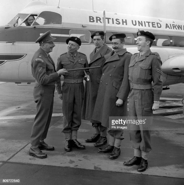 Pictured at Gatwick Airport are Geoffrey Sumner William Hartnell Ted Lune Mario Fabrizi and Harry Fowler of Granada Television's 'The Army Game' They...
