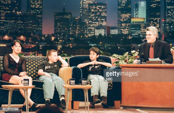 Athlete Martina Hingis and actors William Kern and Anthony Rank during an interview with host Jay Leno on March 4 1998